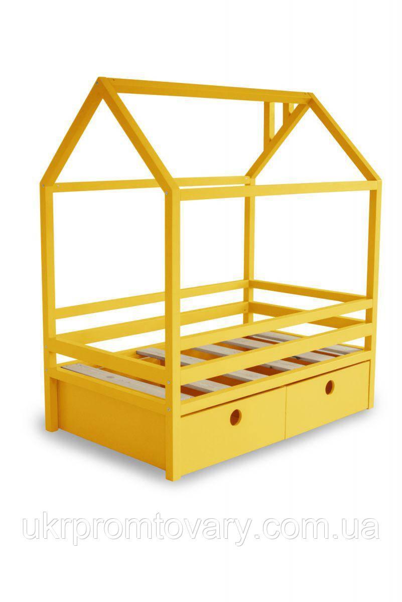 Дитяче ліжко-будиночок Ліжко Дрима Box 800 Х 1900 мм (Жовтий Ral 1003] в Києві, натуральне дерево, якість