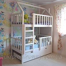 Детская кровать  домик Артёмка 1900*900 мм, ЦЕННАЯ ПОРОДА БУКА, Покраска акриловой эмалью в Киеве, натуральное дерево, качество, фото 2