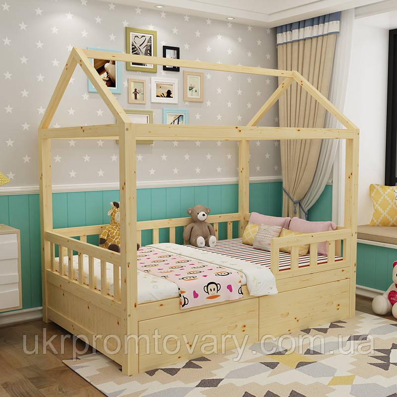 Детская деревянная кровать Домик Массив березы, С ящиками в Киеве, натуральное дерево, качество