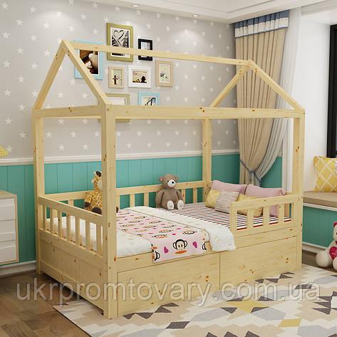 Детская деревянная кровать Домик Массив березы, С ящиками в Киеве, натуральное дерево, качество, фото 2