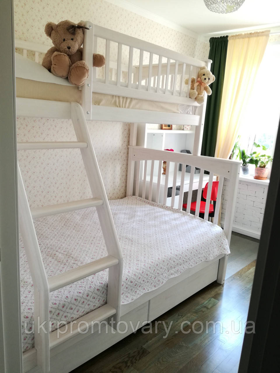 Двох'ярусне ліжко для трьох детейСоня 80*200/120*200, ясен в Києві, натуральне дерево, якість