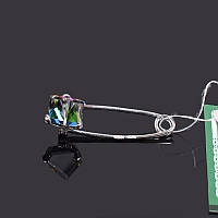 Серебряная булавка брошь Кубик Swarovski , фото 1