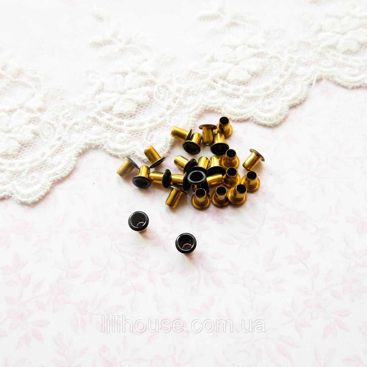 Люверс 5*2.5*5 мм (внутренний Ø 2.5 мм), черные с золотом - 20 шт