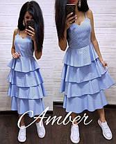 Шикарное летнее платье с рюшей, размеры С (42-44) М (44-46), фото 2