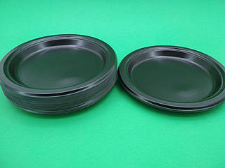 Тарелка одноразовая пластиковая 220 mm Черная (25 шт)