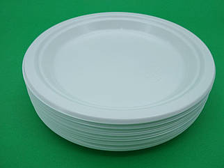 Тарелка одноразовая пластиковая 260 mm белая (50шт)