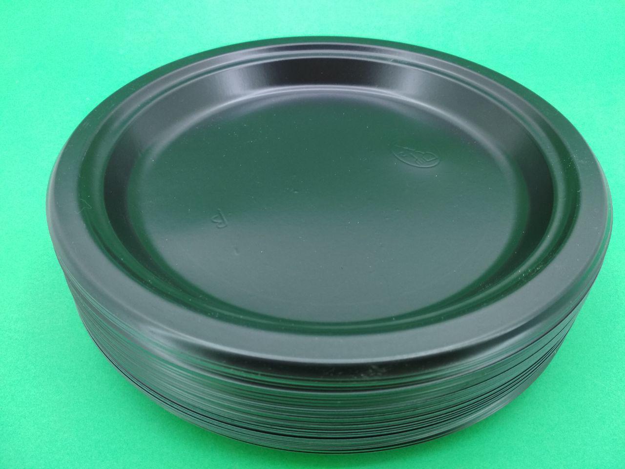 Тарілка одноразова пластикова 260 mm Чорна (50 шт)