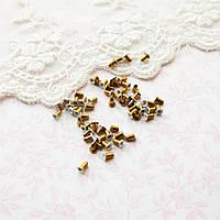 Люверс 2.5*1*3 мм (внутренний Ø 1 мм), белые с золотом - 20 шт