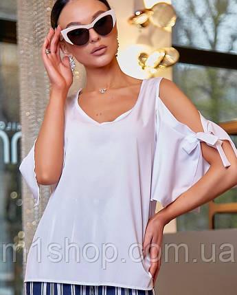 Женская белая блузка с разрезами на плечах (3476 svt), фото 2