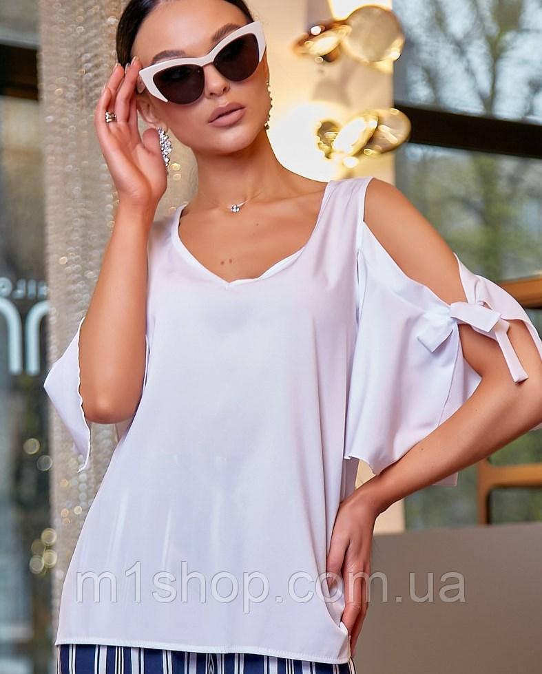 Женская белая блузка с разрезами на плечах (3476 svt)