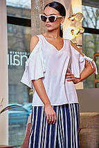 Женская белая блузка с разрезами на плечах (3476 svt), фото 3