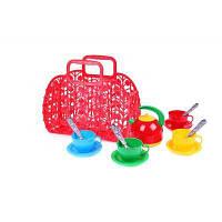 Корзинка с набором посуды ТехноК (красная)