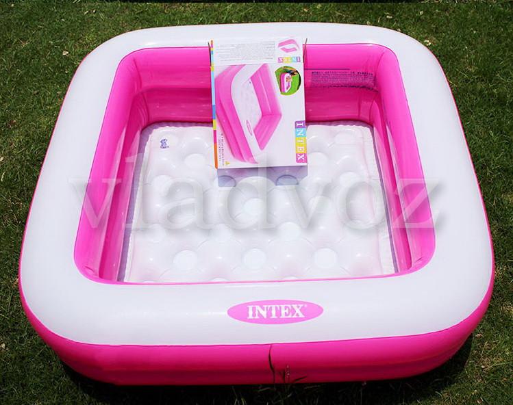 детский надувной бассейн intex 57100 розовый