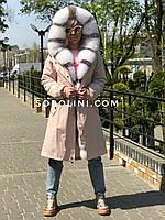 Парка с песцом альбиноса из матовой розовой плащевки