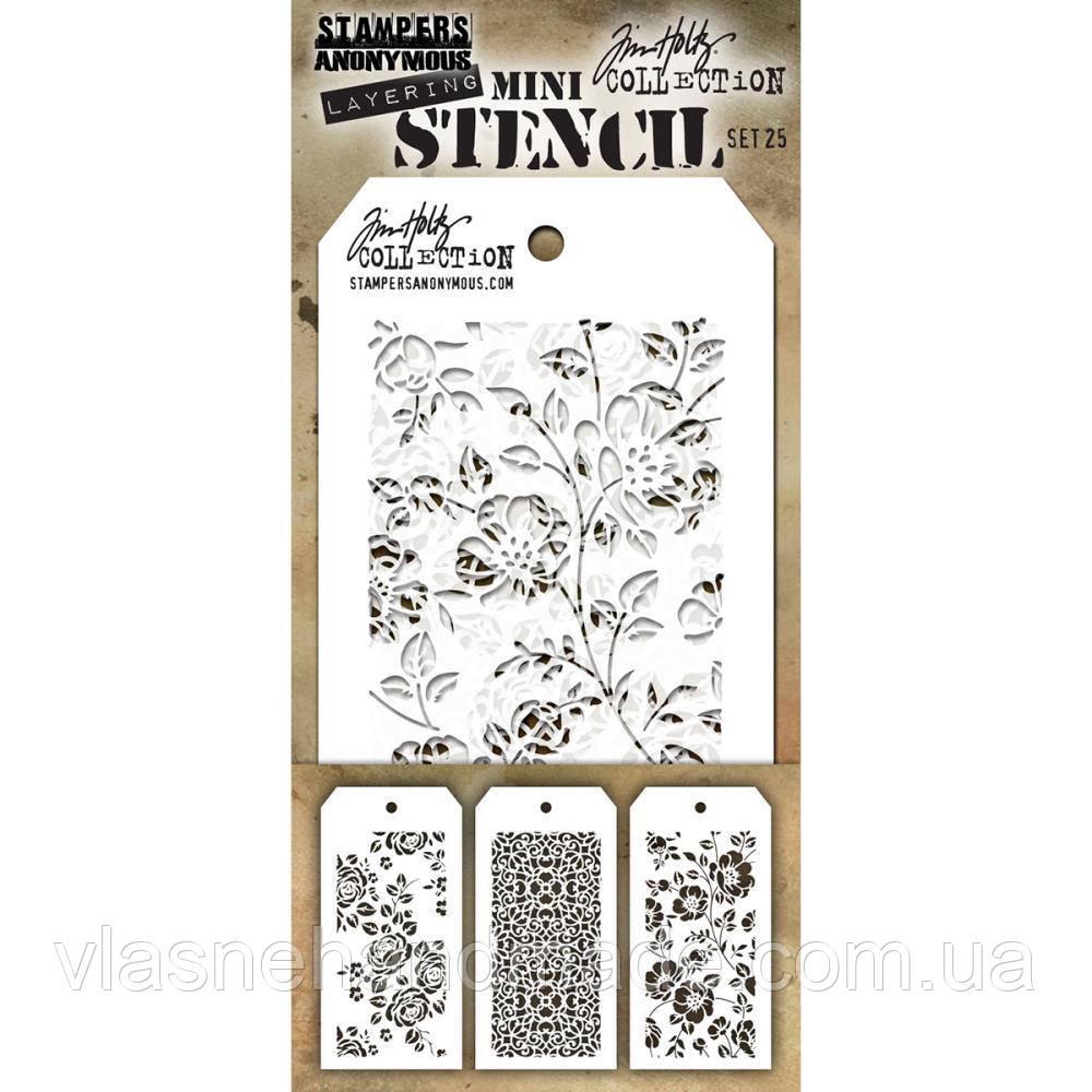 Трафарет - Tim Holtz Mini Layered Stencil Set №25 - 3 шт.
