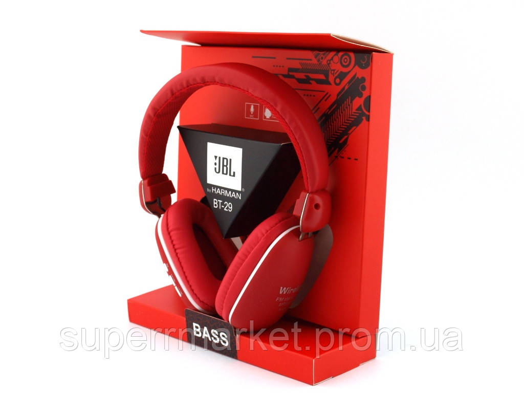 JBL by Harman BT-29 Bass Bluetooth Wireless Headset копия, наушники с FM MP3, красные