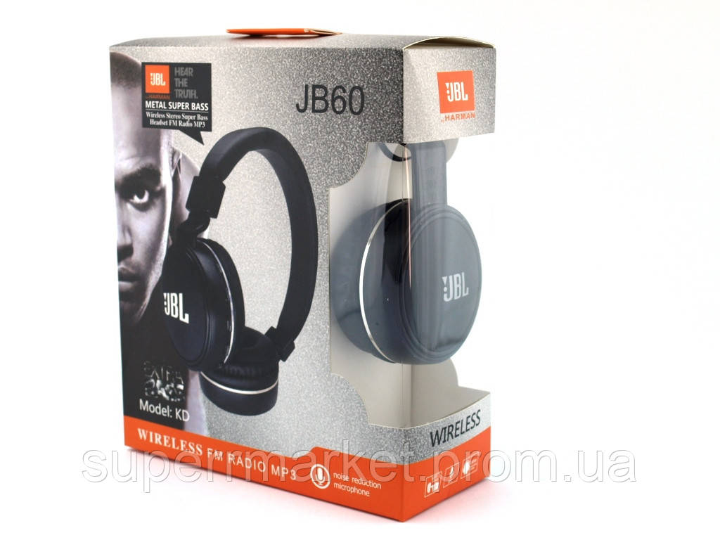 JBL JB60 KD Wireless Headset metal super Bass копия, Bluetooth наушники с FM MP3, черные