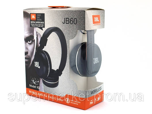 JBL JB60 KD Wireless Headset metal super Bass копия, Bluetooth наушники с FM MP3, черные, фото 2