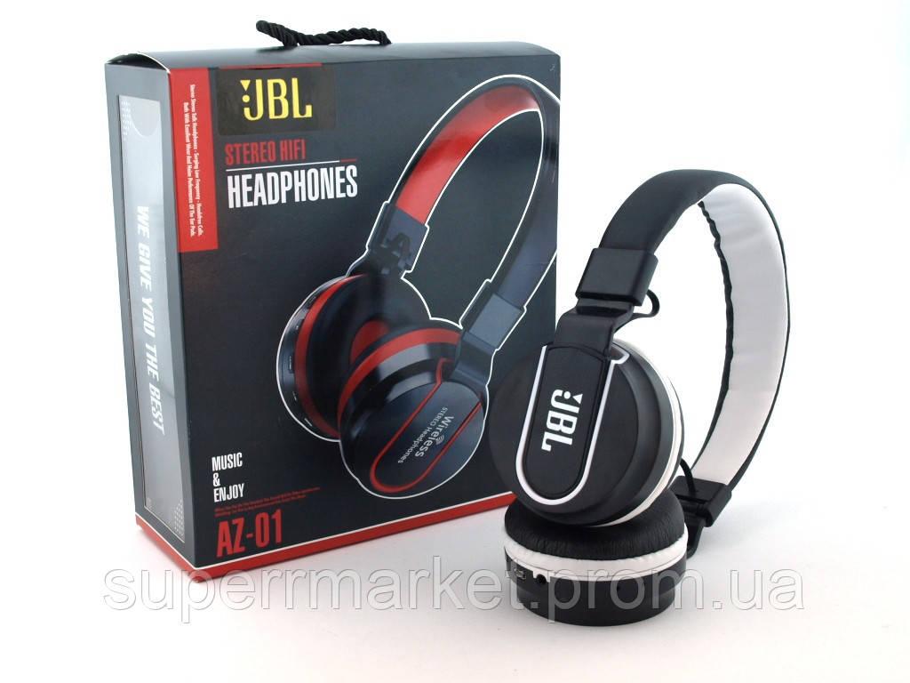 JBL AZ-01 Wireless Headset Extra Bass копия, Bluetooth наушники с FM MP3, черные с белым