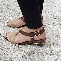 Босоножки женские коричневые из натуральной кожи без каблука
