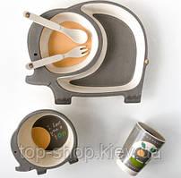 Детская бамбуковая посуда Слоненок набор из 5 предметов