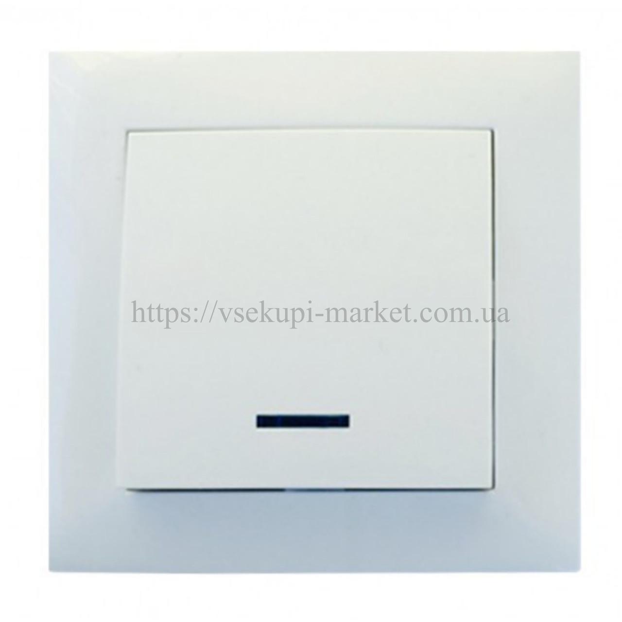 Одинарный выключатель с подсветкой RIGHT HAUSEN VELENA  HN-011021 белый, бежевый