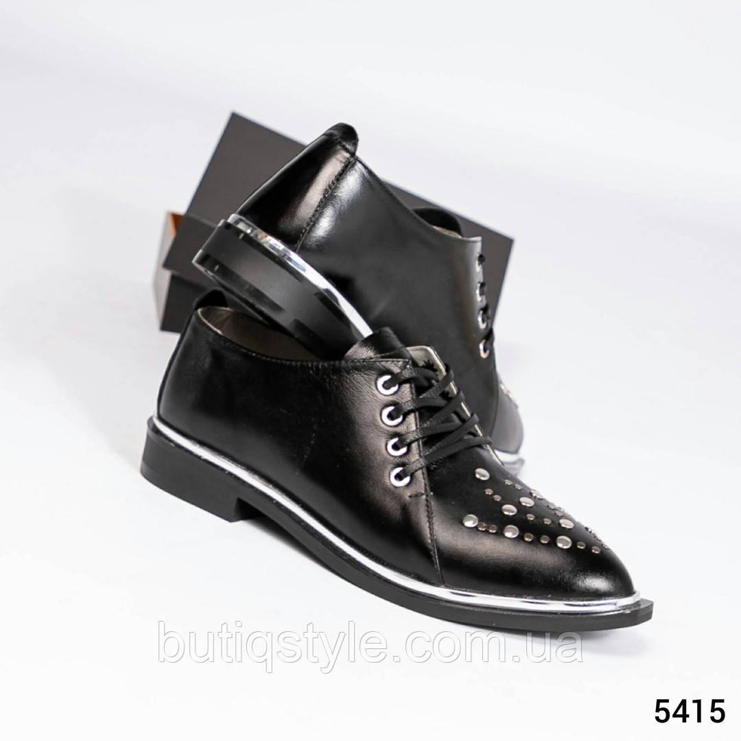 37, 40 размер Женские черные туфли с заклепками натуральная кожа,  2019