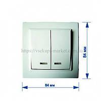 Двухклавишный выключатель с подсветкой RIGHT HAUSEN KIRA HN-016051