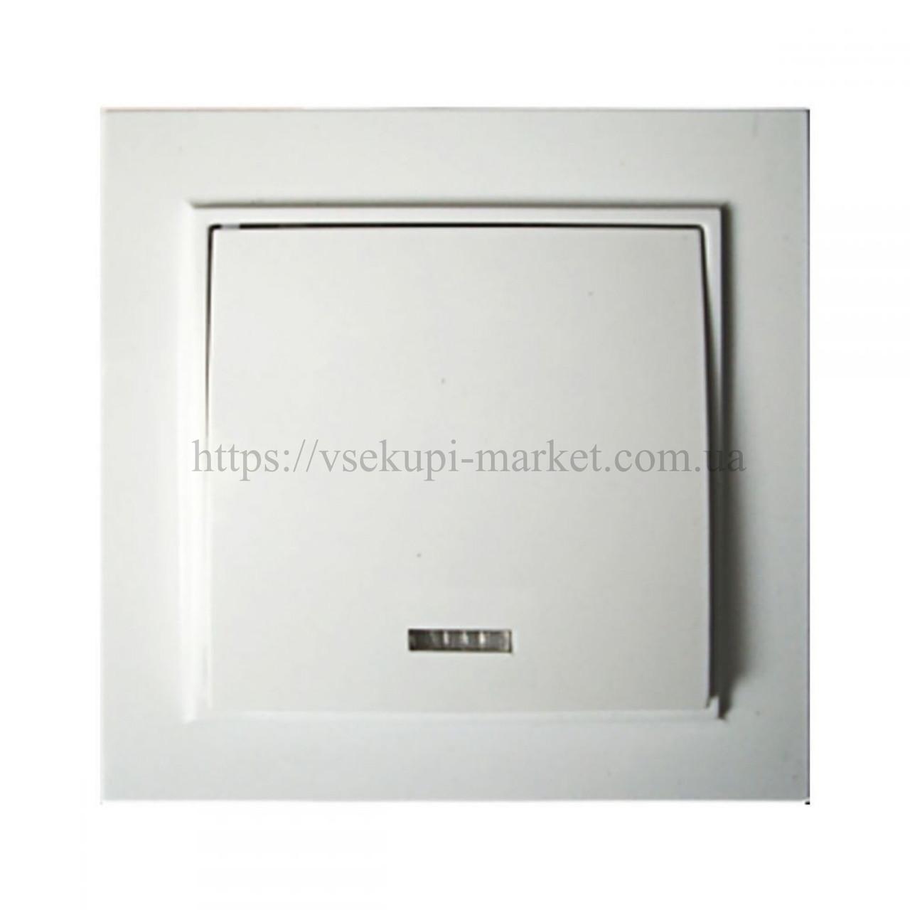 Выключатель RIGHT HAUSEN KIRA 1-Й ВНУТРЕННИЙ с подсветкой белый HN-016021