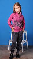 Спортивный костюм из 2-х ед., cерые штаны и розовая кофта в звездах и домах, девочка серый,розовый, 163MIEP002