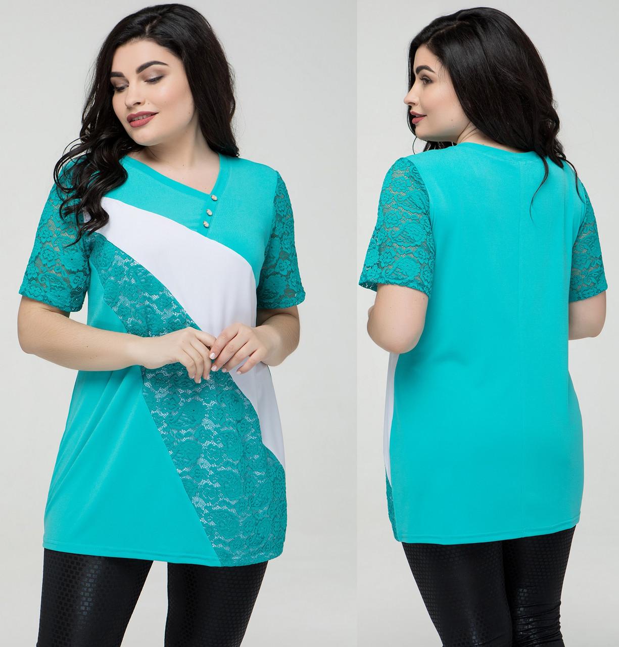215cb489b765f37 Гипюровая блуза женская нарядная блузка трикотажная летняя больших размеров  (батал), бирюзовая