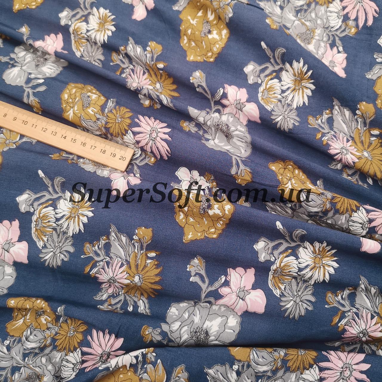 Ткань штапель принт цветы на синем