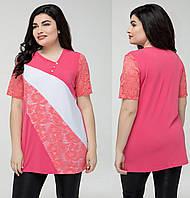 d1c2781d384 Гипюровая блуза женская нарядная блузка трикотажная летняя больших размеров  (батал)