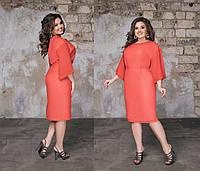 2a957683047 Женское шифоновое платье миди большого размера с рукавом.Размеры 48-58.+
