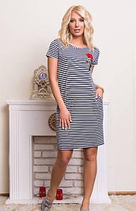Трикотажное платье в широкую полоску 46-52