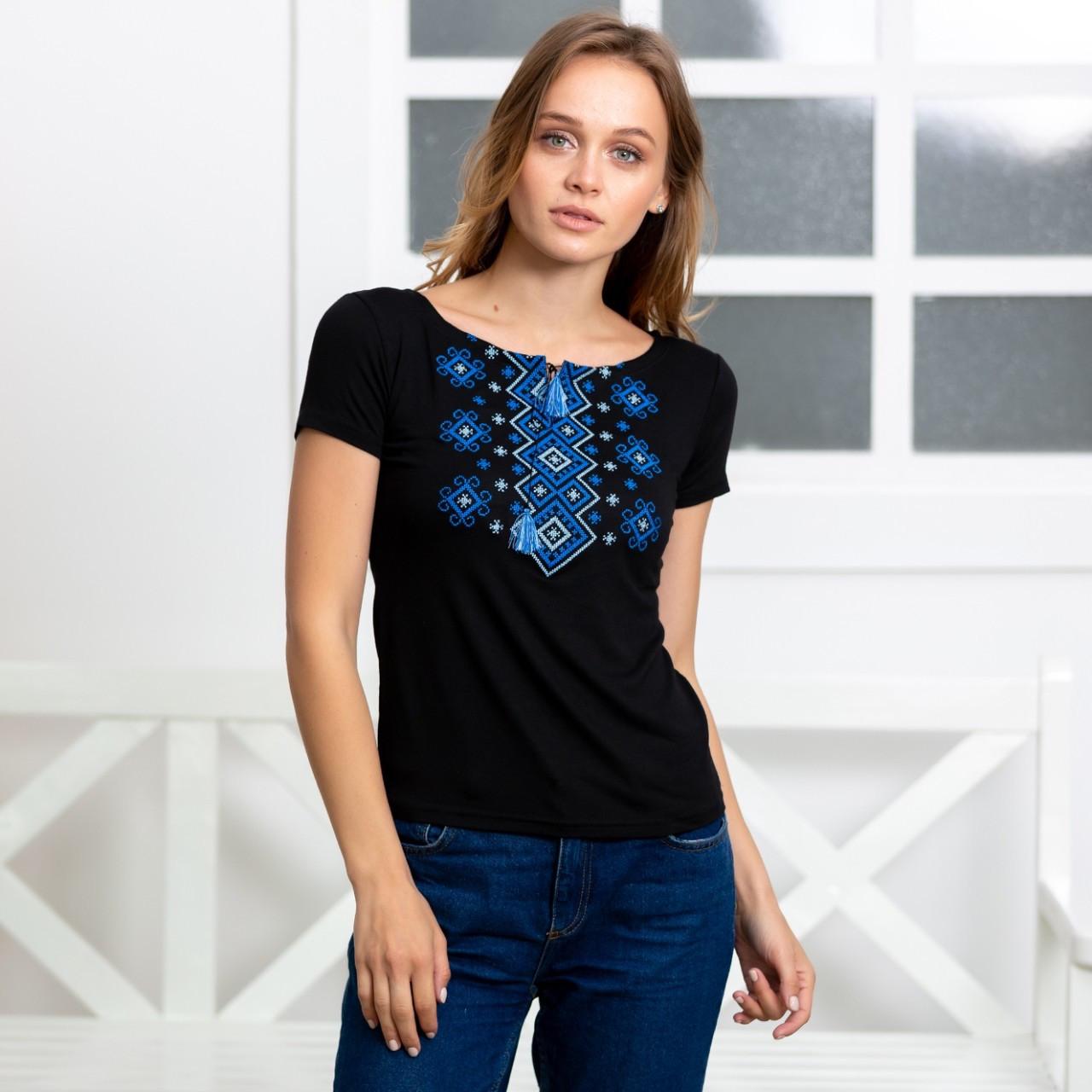 Трикотажная футболка с вышивокой Орнамент электрик
