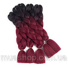 Канекалон Омбре (черный/бордовый) 65*130 см, фото 3