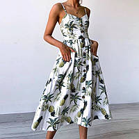 88182a96b92 Платье сарафан миди на пуговицах ананасы (белое)