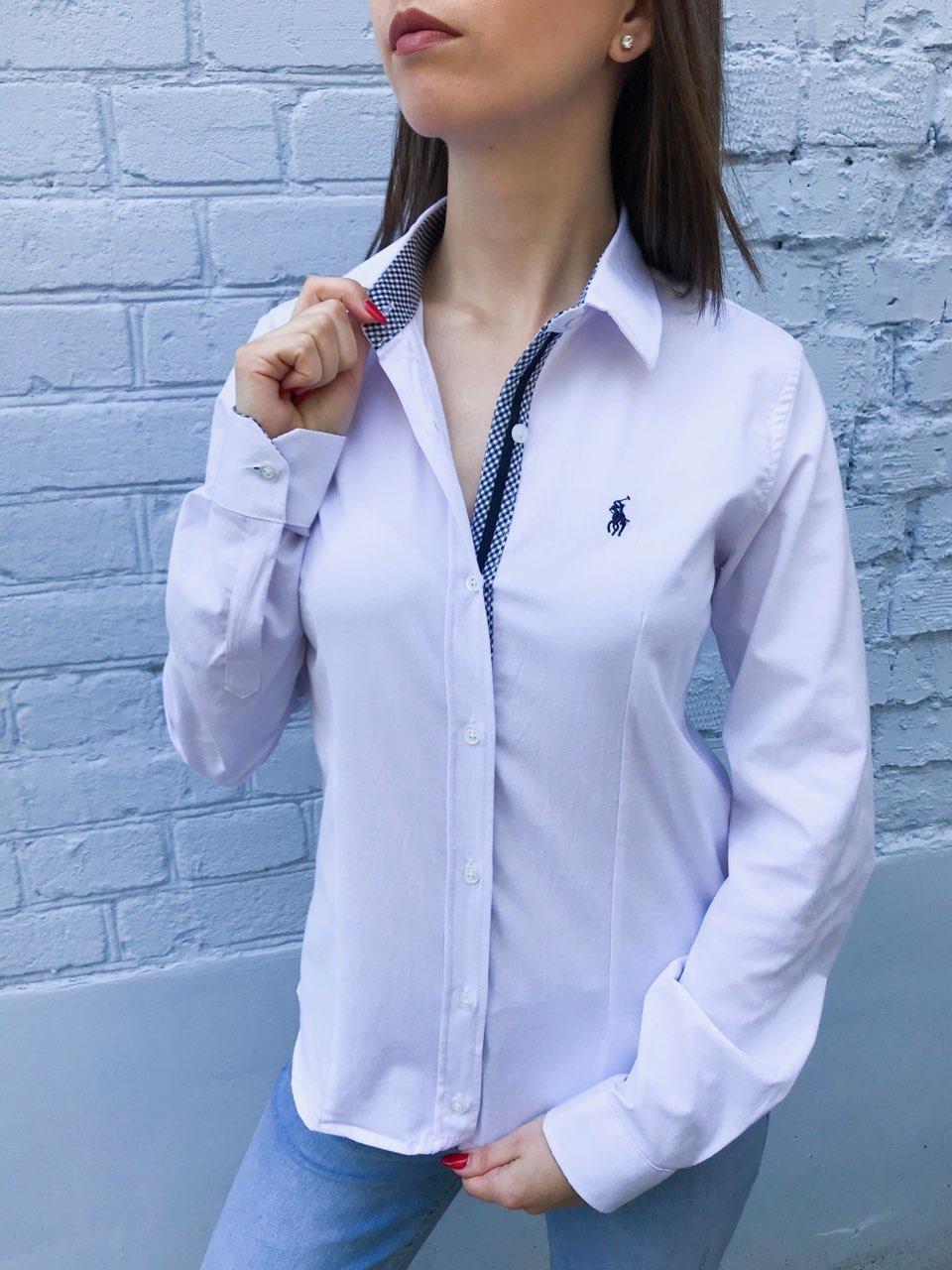757a2f70972cba0 Женская рубашка Polo Ralph Lauren белая с синими вставками -  Интернет-магазин 7sundukov в Запорожье