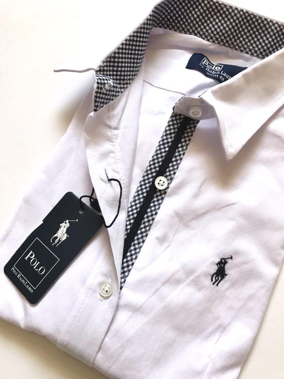 2dbbf3632e7368a Женская рубашка Polo Ralph Lauren белая с синими вставками, цена 650 грн.,  купить в Запорожье — Prom.ua (ID#955490833)
