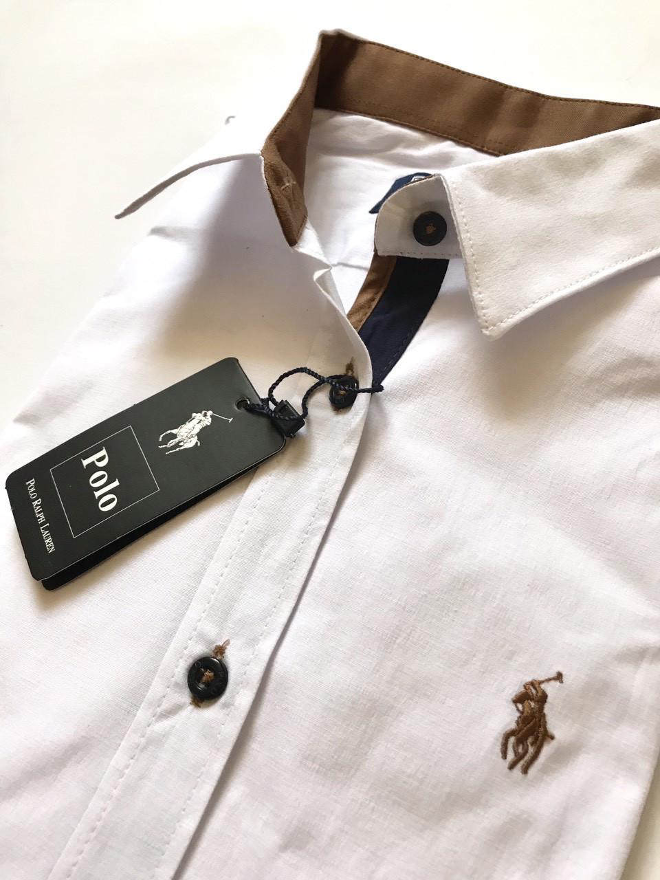013c777cd076397 Женская рубашка Polo Ralph Lauren белая с бежевой эмблемой, цена 650 грн.,  купить в Запорожье — Prom.ua (ID#955490834)