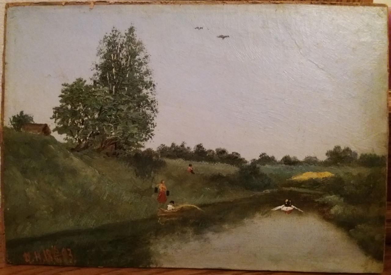 Картина Летний пейзаж 1893г. Монограммист И.Н.