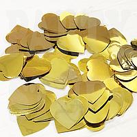 Конфетти сердечки металлик 25 мм, золото, 50 г