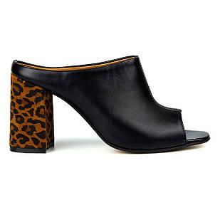 Мюли Woman's heel кожаные 37-38 черные на устойчивом каблуке с леопардовым принтом