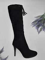 Сапоги женские Dali Fashion черный 528-16-168 замша 40(р)