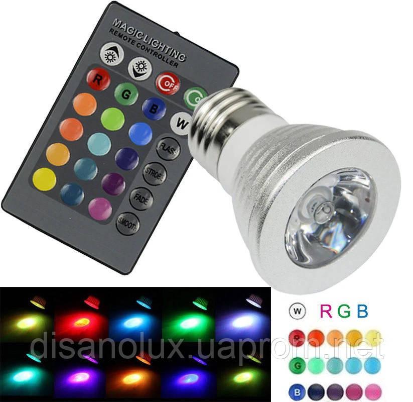 Світлодіодна лампа E27 LED RGB 3W 220V +пульт
