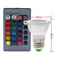 Світлодіодна лампа E27 LED RGB 3W 220V +пульт, фото 2