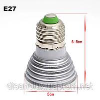 Світлодіодна лампа E27 LED RGB 3W 220V +пульт, фото 5