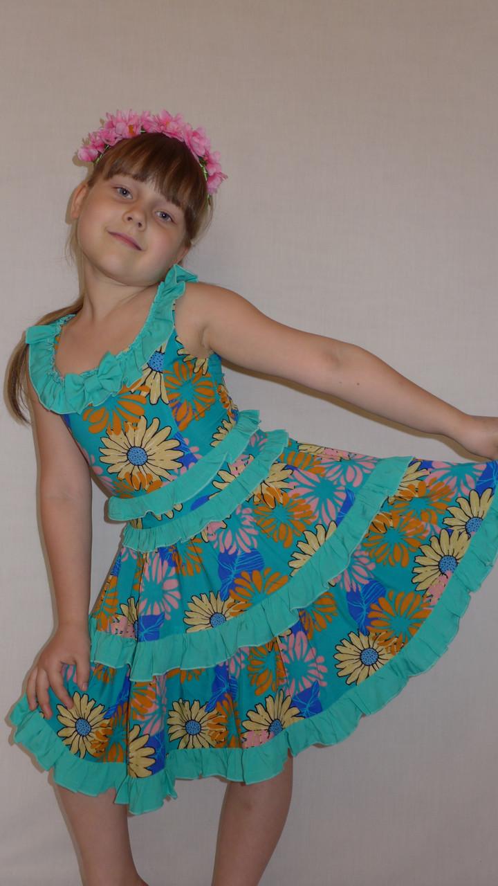"""Летний сарафан для девочки """"Оборочка"""" мятное . Детская одежда оптом."""