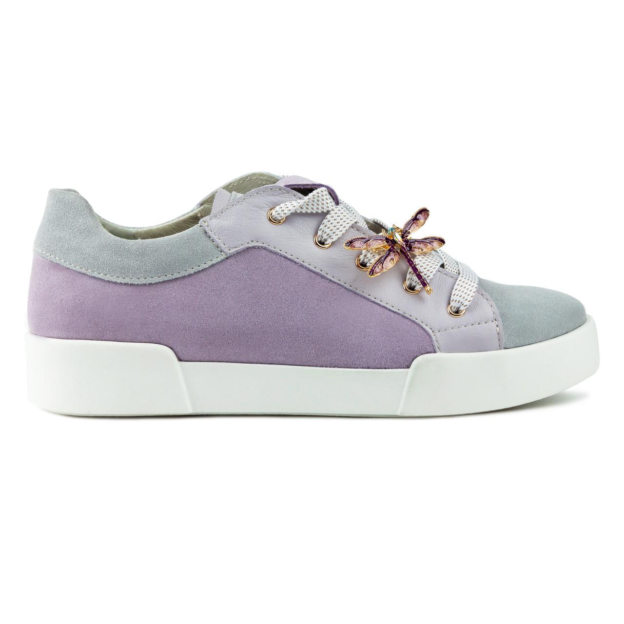 Кеды Woman's heel серо-фиолетовые (О-858)